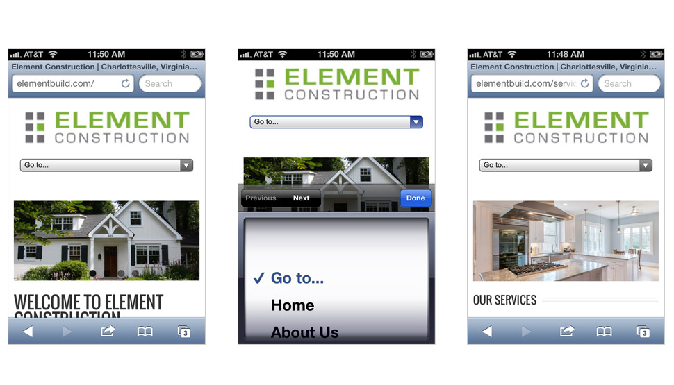 Element Construction website