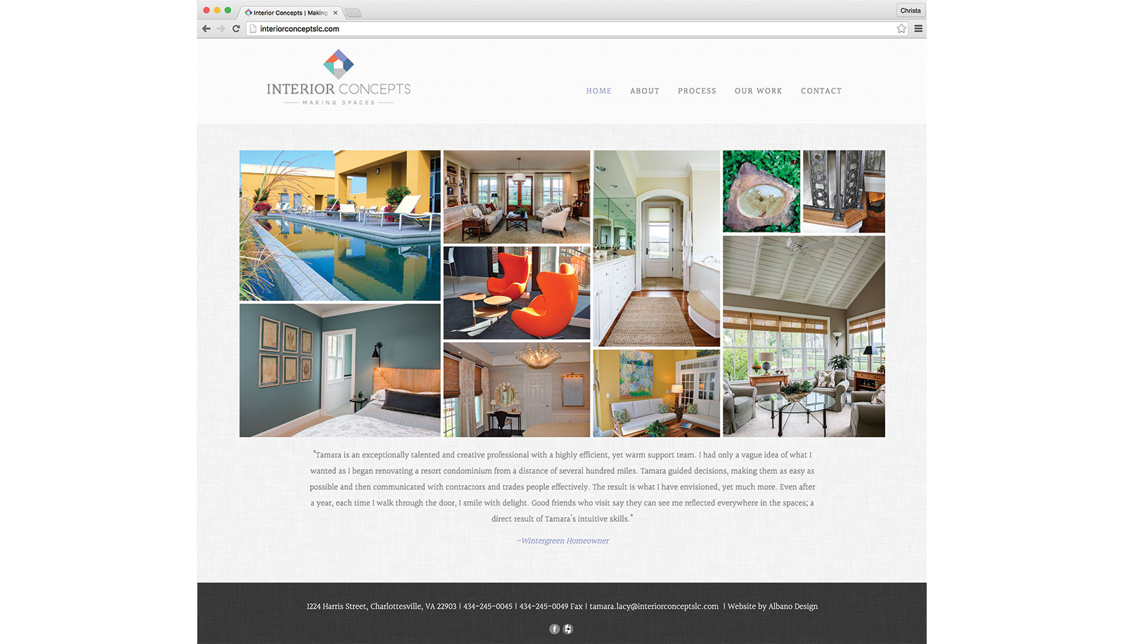 interior concepts website, logo design, business cards, signage and photography