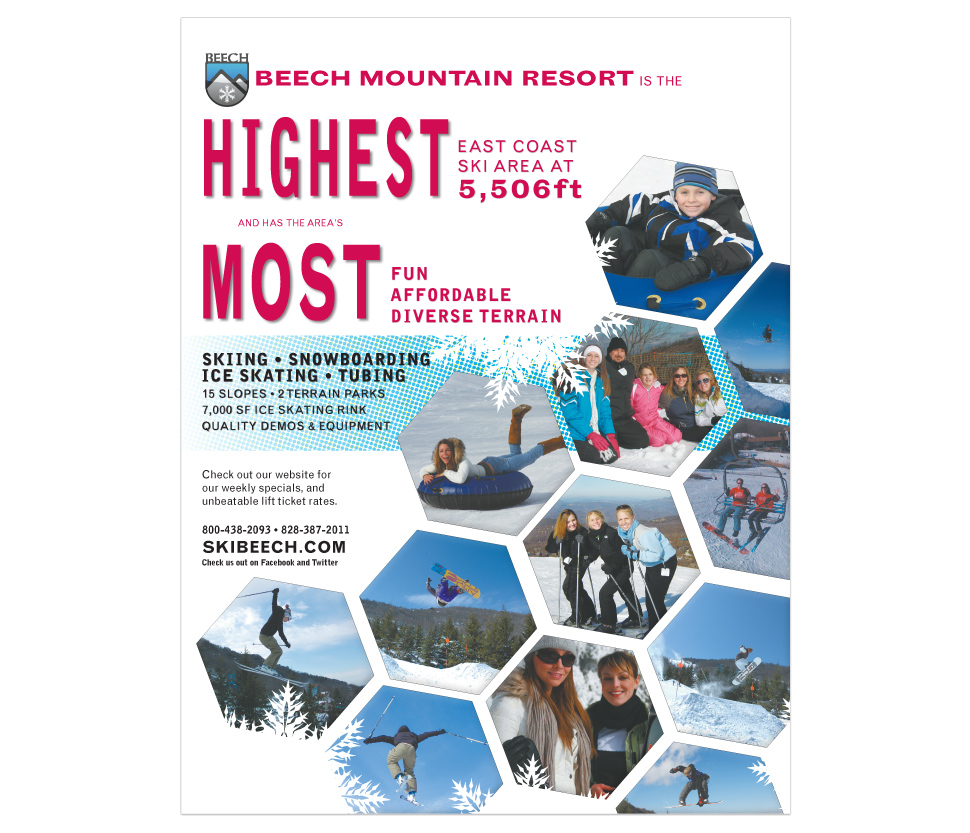 promotional page in Blue Ridge Outdoors Magazine for Beech Mountain Resort