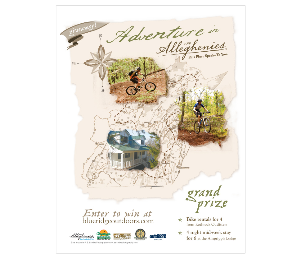 promotional page in Blue Ridge Outdoors Magazine for The Alleghenies, Pennsylvania