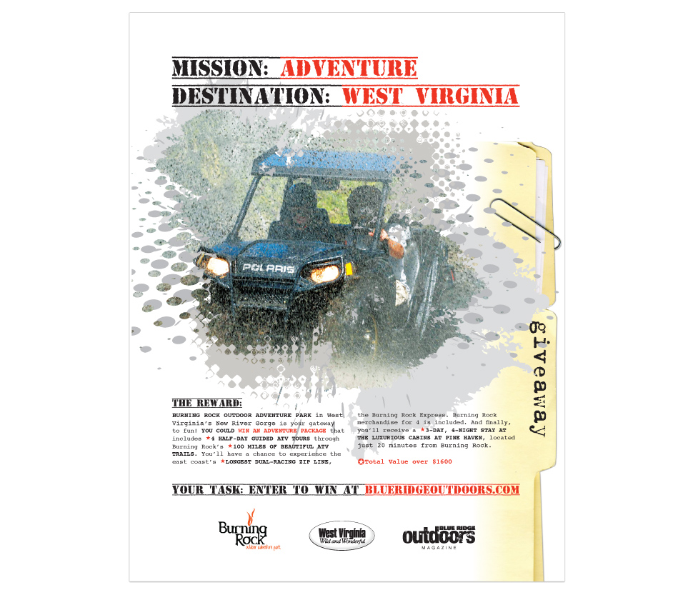 promotional page in Blue Ridge Outdoors Magazine for West Virginia Tourism