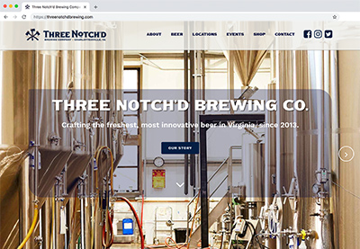 custom website design and development for three notch'd brewery